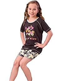 Summer Night Suit for Kids / Girls - Night wear - Track Suits - Shorts & Tshirt Night Wear Combo Set  -Sinker Material  - Half sleeves -Brown Color - Branded Valentine Kids Wear -For 6/8/10/12/14/16 Year Girls - Shorts and T-shirt