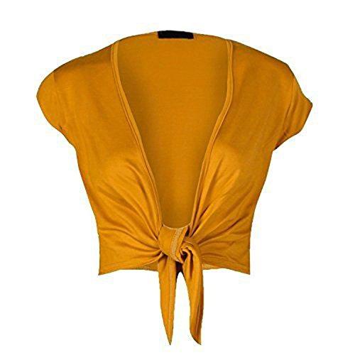 mix_lot Damen Frauen Strickjacke Kurzarm Vorne Krawatte Bolero Knoten Wrap Shrug Crop Top (Mustard, XL 44-46) - Kurzarm-wrap
