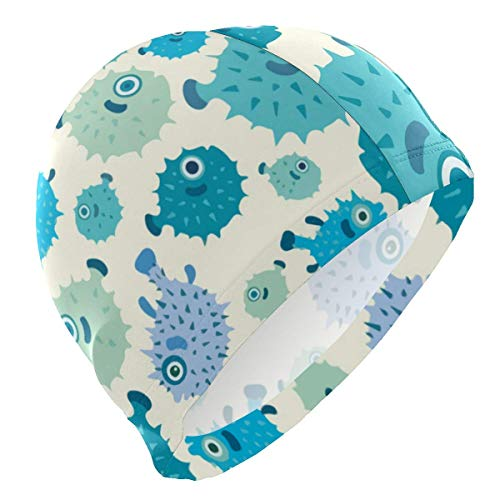 Gebrb Badekappe/Schwimmkappe/Bademütze, Puffer Blue Fish Lycra Swim Cap Swimming for Women Men Lycra Swim Cap