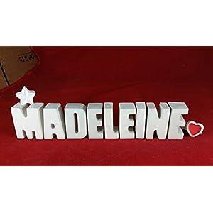 Beton, Steinguss Buchstabe Buchstaben 3 D Deko Schriftzug Namen MADELEINE als Geschenk verpackt!