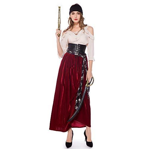 SJWSJW Halloween Kostüme Piraten Der Karibik Frauen Cosplay Bühne Kostüme Oper Drama Kostüme m Kleidung (Weibliche Caribbean Pirate Kostüm)