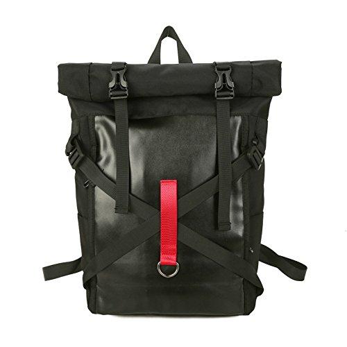 Mochila de nylon de la muchacha de las mujeres empaqueta la mochila fresca del deporte Mochila del ordenador portátil Estudiantes de la universidad de San Valentín Daypacks casuales (D-Negro)