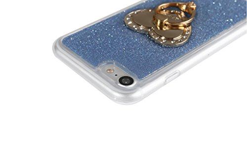 """iPhone 7 Handyhülle, Bling Glitzer Funkeln CLTPY iPhone 7 Durchsichtig Dünne Matte Gel Cover Schlanke Hybrid Stoßdämpfende & Kratzfeste Gummi Case mit Kippständer für 4.7"""" Apple iPhone 7 + 1 x Schreib Blau mit Ring"""