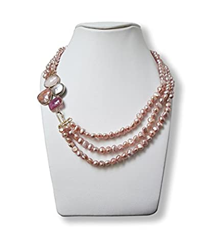 Pink pearls necklace with ruby, strawberry quartz, rose-quartz and natural