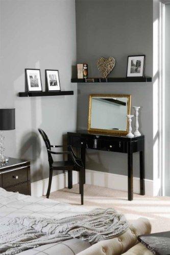 MY-Furniture - Coiffeuse en verre noir haute brillance, 4 pieds (gamme CHELSEA)