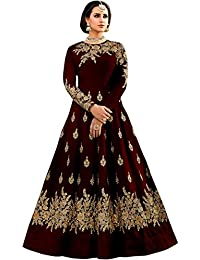 16df1fd7654 Shree Impex Women s Embroidered Taffeta Silk Anarkali Gown (Freesize)