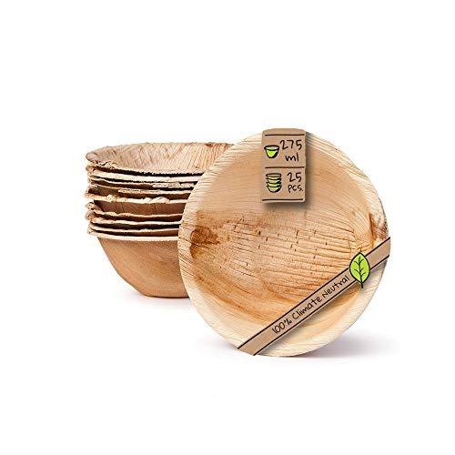 BIOZOYG Umweltfreundliches Einweggeschirr aus Palmblättern | 25 Stück Palmblatt Schale rund 275ml Ø13,5cm | Salat-Schüssel Dipschalen Suppenschale Servierschale Snackschale Einwegschale