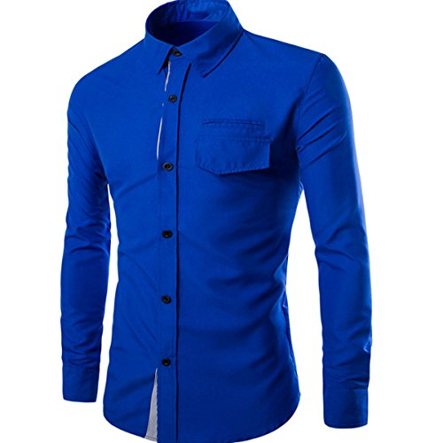Grandi Dimensioni A Maniche Lunghe Camicia Decorata Collectibles Petto Con Patta Uomo Blue