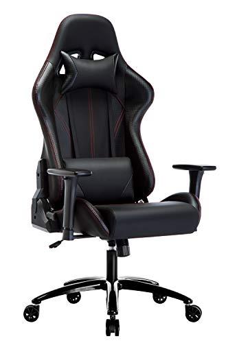 Amoiu Gaming Stuhl, Racing Gamer Stuhl, Schreibtischstuhl Ergonomischer Bürostuhl mit 3D verstellbaren Armlehnen (Kohlefasereffekt)