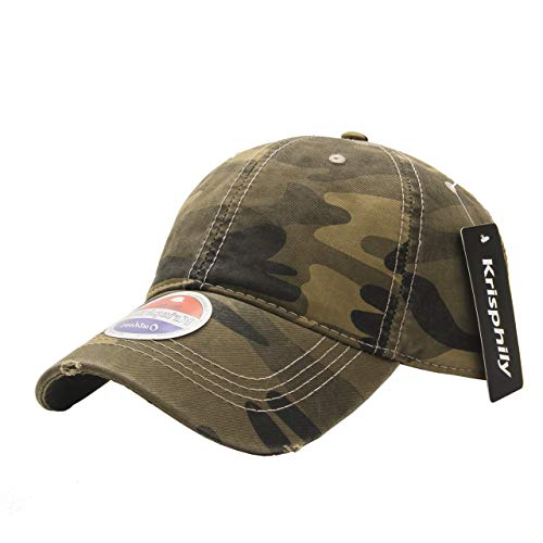 krisphily Sport Outdoor gewaschen Baumwolle Baseball Kappen, camouflage Panel-camouflage Twill Cap