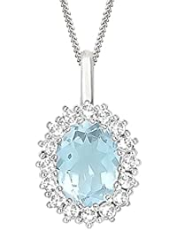 "Silvernshine 2.30 Ct Oval AquamarIne & D/VVS1 Diamond Halo Pendant With 18"" ChaIn In 14K White Gold Fn"