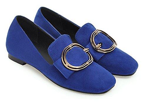 Aisun Femme Mode Métal Bout Carré Basse Mocassins Bleu