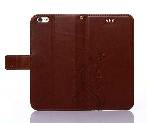 C-Super Mall-UK Apple iPhone 6 / 6s 4.7 Inch custodia,sbalzato farfalla & fiore modello PU Pelle Portafoglio Stand Flip cover per Apple iPhone 6 / 6s 4.7 Inch dark brown