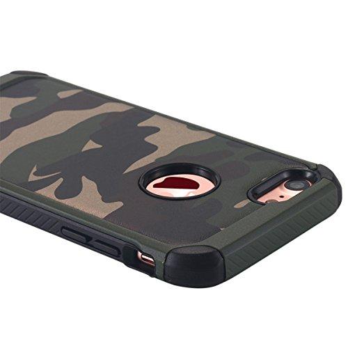 iPhone 7cellulare, iPhone 7Case, lontect–Cellulare per esterni [iPhone 74.7] Back Cover in Silicone e Pelle con motivo mimetico per Apple iPhone 7 Camouflage Grün