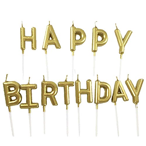 Geburtstag-kerze-sticks (Gosear Paraffinwachs Happy Birthday Brief Candle Set Party Kuchen Kerze Dekoration Gold)