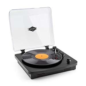 auna TT-370 • Schallplattenspieler • Plattenspieler • Stereo-Lautsprecher • Riemenantrieb • USB • 3 Geschwindigkeiten • 33, 45 und 78 U/min. • Auto-Start • Line-Out • Holz-Furnier • Retro • schwarz