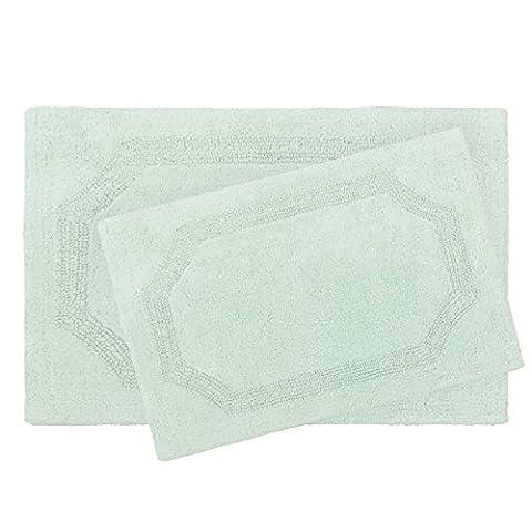 Laura Ashley Reversible Cotton 2-Piece Bath Mat Set, Aqua