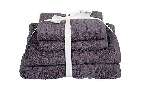 4-teiliges Frottiertücher-Bündel-Set, 450 gsm, saugfähiges Handtuch Allure Bath Fashions Hotel Essentials, 4-er Pack Handtuch-Bündel, Enthält 2 x Handtücher 50 x 80 cm & 2 x Badetücher 70 x 120 cm (dunkelgrau)