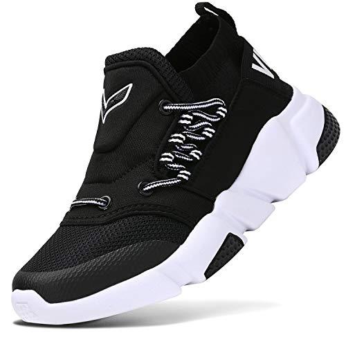 Sneakers Bambini Ragazzi Scarpe da Corsa Ragazze Trainer Ragazzi Scarpe Sportive Scarpe da Ginnastica all'aperto Scarpe da Interno Unisex(Nero 35EU)