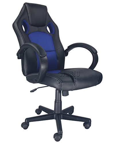 High Back PU Leather Race Car Style Bucket Seat Executive Swivel Office Desk Chair Blue