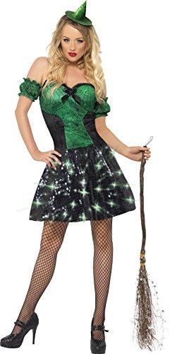 Hexe Kostüm, Kleid mit Leuchtfunktion und Ärmel, Größe: S, 24154 ()