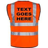 Personalised with Any Name Childrens HIGH Visibility Waistcoat/Vest (HI VIS) (7-9yrs, Orange)