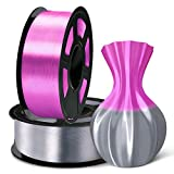 SUNLU 3D Filament 1.75, Shiny Silk PLA Filament 1.75mm, 2KG PLA Filament 0.02mm for 3D Printer 3D Pens,Grey + Purple