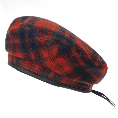 zen Barette Wool Beret Hat Tartan Check Leather Sweatband KR3781 (Red) ()