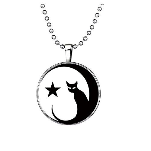 Collar Pendiente Colgante Cadena Patrón de Gato Estrella Luminoso en Noche Oscura Aleación