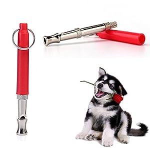 ZDCDEALS Professionnel à ultrasons Dressage de Chien Sifflet pour arrêter d'Aboyer, réglable à ultrasons Outil d'entraînement Silent Bark Control pour Chiens avec Gratuit Lanière Strap-Red