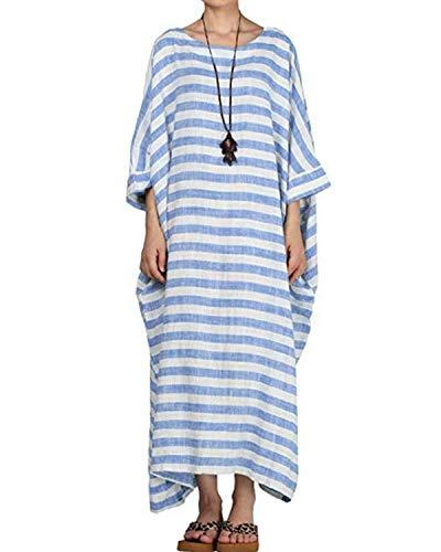 Schwarz Gestreift Langarm (VONDA Damen Langarm Kleid Übergroße Freizeit Maxikleid Streifen Kleider Blau03 XL)