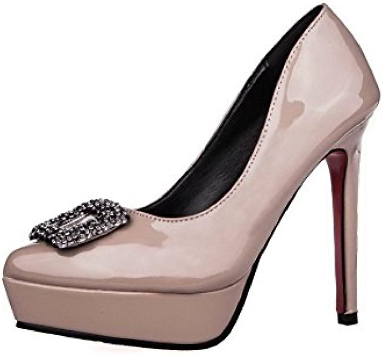 AalarDom Damen Spitz Zehe Lackleder Stiletto Ziehen Auf Pumps Schuhe