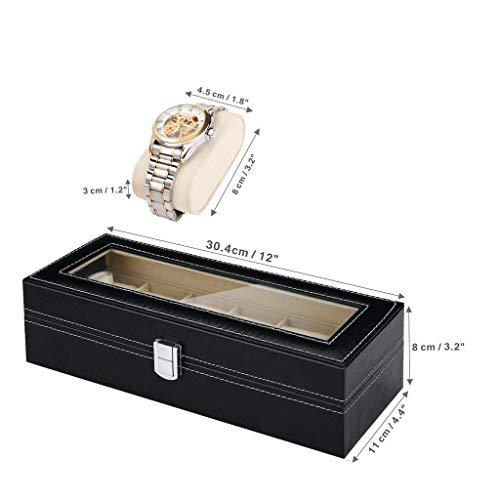 GOVD GOVD Uhrenkasten Herren Uhrenaufbewahrung PU Leder mit großen Fächern für Herren Damen Uhren