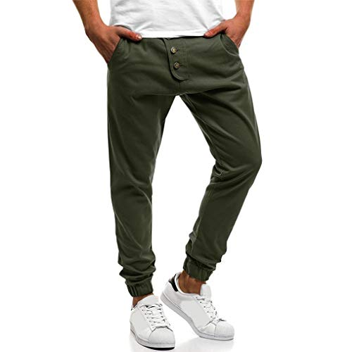 UJUNAOR Herren Cargo Hose Sweatpants Jogginghose Baumwolle Freizeithose Boyfriend Haremshose Sporthose mit Gummibund(Armygrün,EU 46/CN M) | 00037606538064
