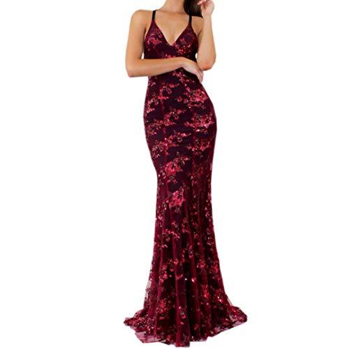 Frauenkleid Womens Dress Riemchen Verband ärmelloses V-Ausschnitt Kleid Pailletten Cocktail Abendkleid Partykleid (Farbe : Wine, Größe : L)