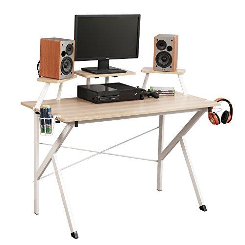 soges Gaming Schreibtisch 120×60×75.5cm Computer Schreibtisch Workstation Schreibtisch verstellbare Unterstützung Panel, Becherhalter, Korb Haken, Millennium Eiche YX001-120-MO