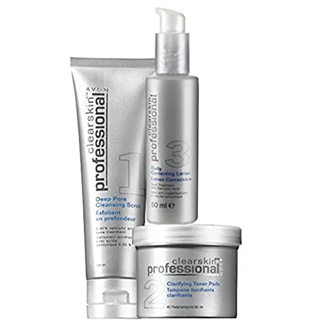 Avon CLEARSKIN PROFESSIONAL for Problem Skin with Persistent Breakouts, 3 Great Products - Cleansing Scrub, Toner Pads & Correcting Lotion. Contains Salicylic Acid.