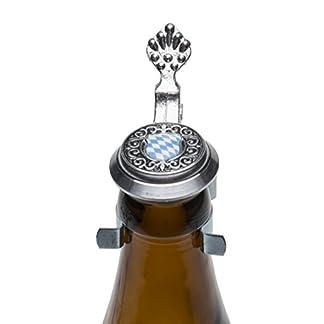 Schnabel-Schmuck-Bayern-Bierflaschen-Zinndeckel-mit-farbigen-Wappen