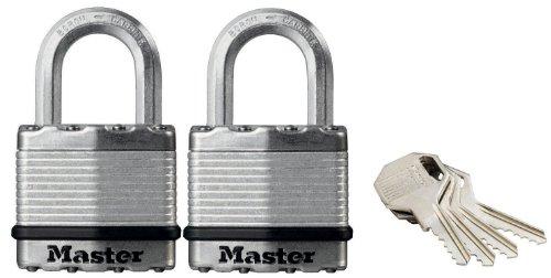 Master Lock Set di 2 Lucchetti Excell ad Alta Sicurezza con Apertura a Chiave Unica per Cantine, 45 mm