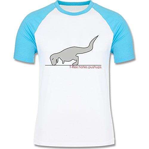 Shirtracer Nerds & Geeks - T-Rex Hates Pushups - Herren Baseball Shirt Weiß/Türkis