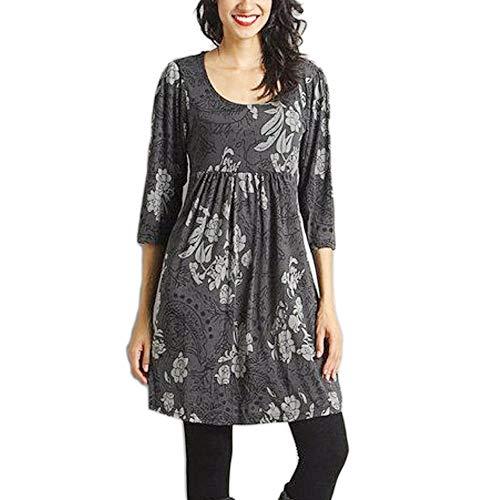 Geili Damen Herbst Freizeit O-Ausschnitt 3/4 Arm T Shirt Mode Gedruckt Lang Große Größe Bluse Dünn Tunika Tops Rundhals Oberteile