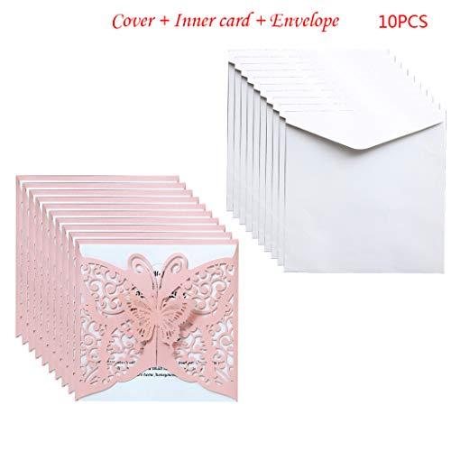 EAPTS 10 Teile/Satz Laser Cut Schmetterling Einladungen Karten Abdeckung Kits Für Hochzeit Brautdusche Geburtstag Jubiläum Party Supplies