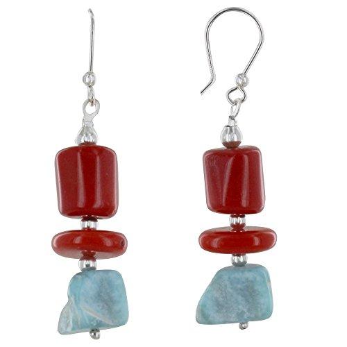 Schmuck Les Poulettes - Sterling Silber Ohrringe Rot Bambus und Larimar Nugget (Silber Bambus-ohrringe Sterling)