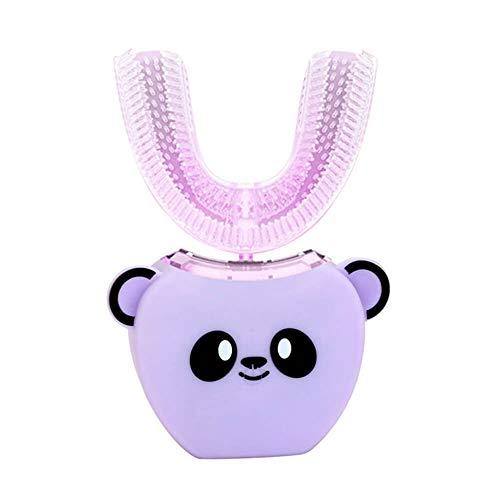 JUZEN Elektrische Zahnbürste der U-Art-Kinder Freihand 360 ° automatische bürstende weiß werdene Zähne Karikatur-Silikon-Hauptzahnbürste,Purple