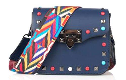 SUPERFLYBAGS Borsa Pochette Donna Vera Pelle con Borchie colorate + tracolla fashion modello Rodi Made In Italy Blu scuro