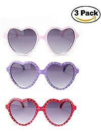 "Newbee Fashion - ""Polka-Heart"" - Kyra Kids Girls Bling Bling Polka Dot Heart Shaped Design Fashion Cute Sunglasses... - B07469R1YZ"