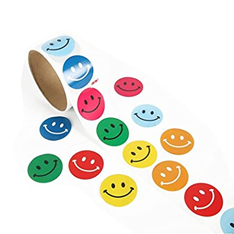 Veroda 2 Rolls of Smile Face Theme Round Paper Stickers for Kid Scrapbook Decoration