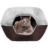 UMALL Gepolstert Katzenhöhlen Katzenbett In Und Outdoor Katzenkorb zum Schlafen Leicht und tragbar Kuschelhöhle Kuschelige Betten für Katzen Warm in Winter (L=52*45*41cm, Eyelash Cashmere-Coffee)