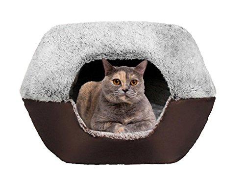 UMALL Gepolstert Katzenhöhlen Katzenbett In Und Outdoor Katzenkorb zum Schlafen Leicht und tragbar Kuschelhöhle Kuschelige Betten für Katzen Warm in Winter (M=45*40*35cm, Eyelash Cashmere-Coffee)