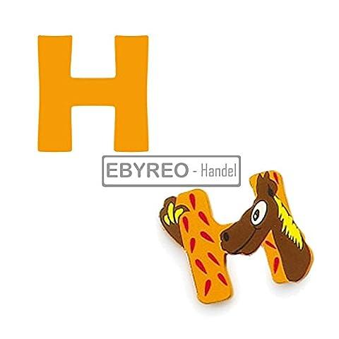 EbyReo - Handel Buchstaben Tiere A – Z, Kinderzimmerdeko - Wunschnamen -Kinderzimmertür - Geschenk zur Geburt - Tierbuchstabe (08. Buchstabe H)